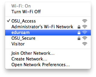 List of available wireless networks in MacOS.