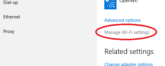 """Manage Wi-Fi Settings"" is highlighted."
