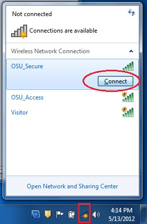 """Available wireless networks with """"Connect"""" button for OSU_Secure highlighted."""