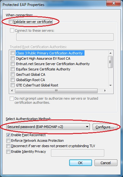 """Validate server certificate"" is highlighted and not checked."