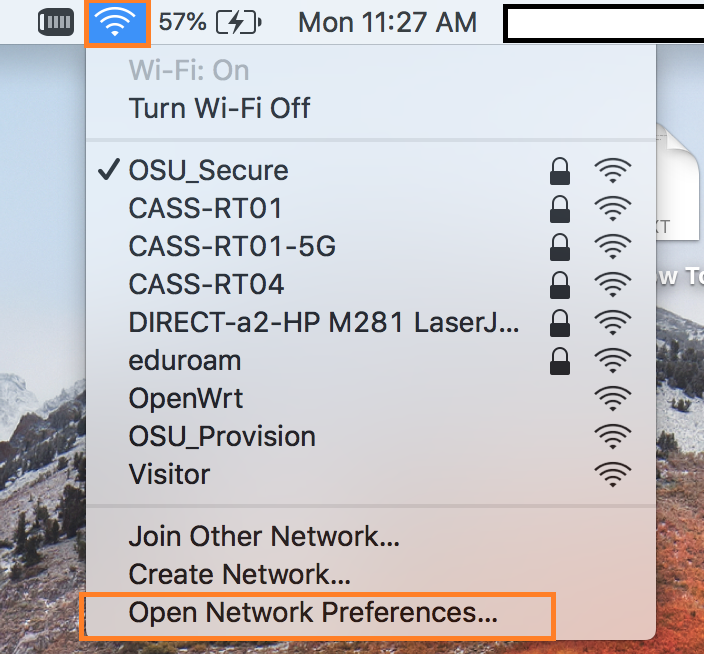 "List of available networks with ""Open Network Preferences"" highlighted."