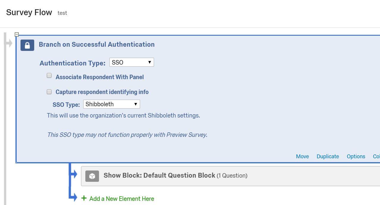 Shows resultant survey flow settings
