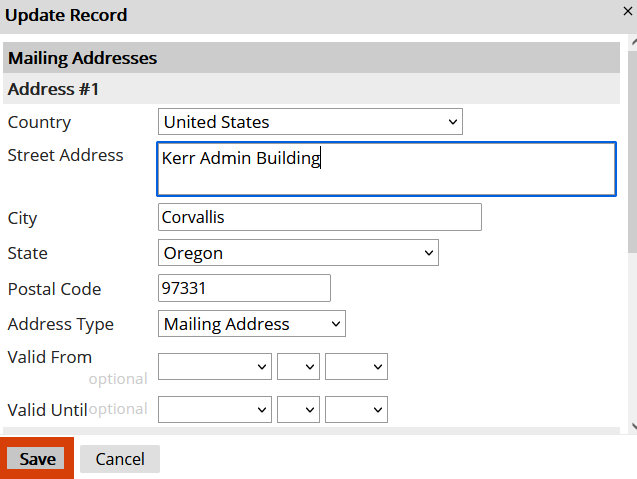 Updating the address record