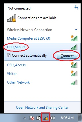 """Available wi-fi networks with """"OSU_Secure"""" and """"Connect"""" button highlighted."""