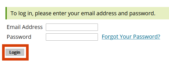 Email and password text boxes