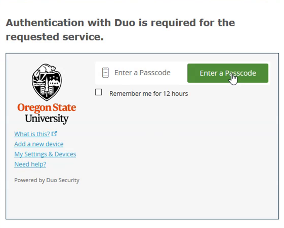 Shows duo authentication prompt with option to enter a passcode.
