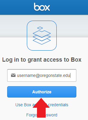 Box login with arrow pointing to Authorize.