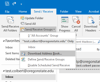 """Send/Receive Groups"" and ""Download Address Book"" are highlighted."