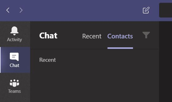 Teams window with Chat highlighted.