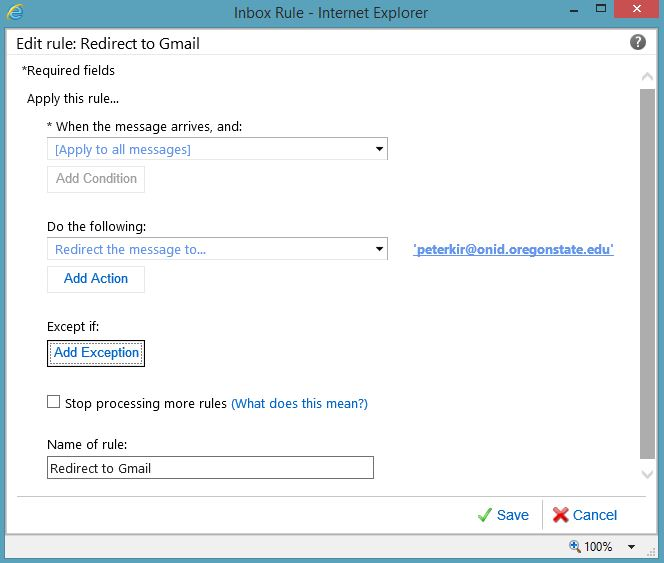 redirect rule example screen capture