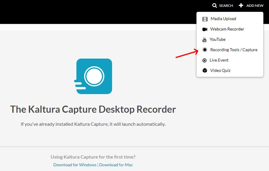 Select Recording Tools / Capture