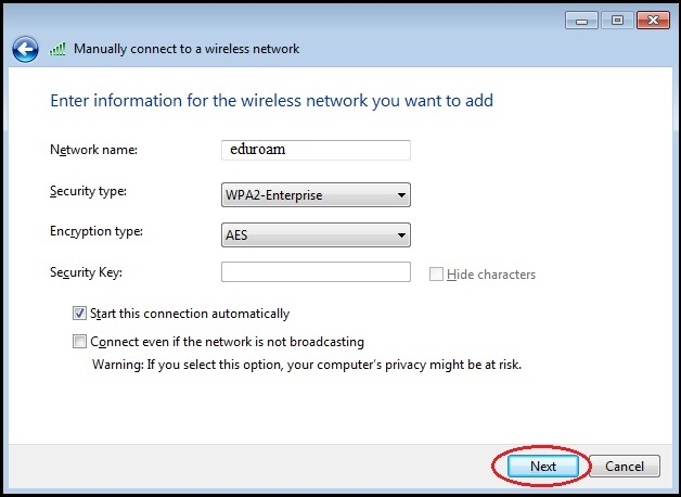 Shows network name set to eduroam, security type wpa2-enterprise, encryption aes.