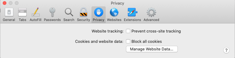 MacOS Catalina Privacy cookie settings