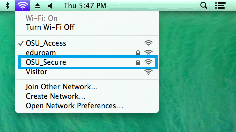 List of available wifi networks on Mac.