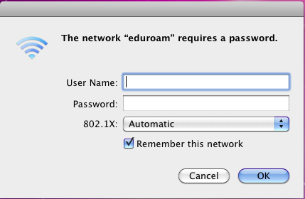 Login screen for eduroam.