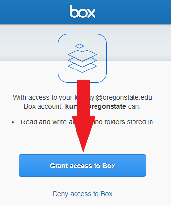 "Box window with arrow pointing to ""Grant access to Box""."