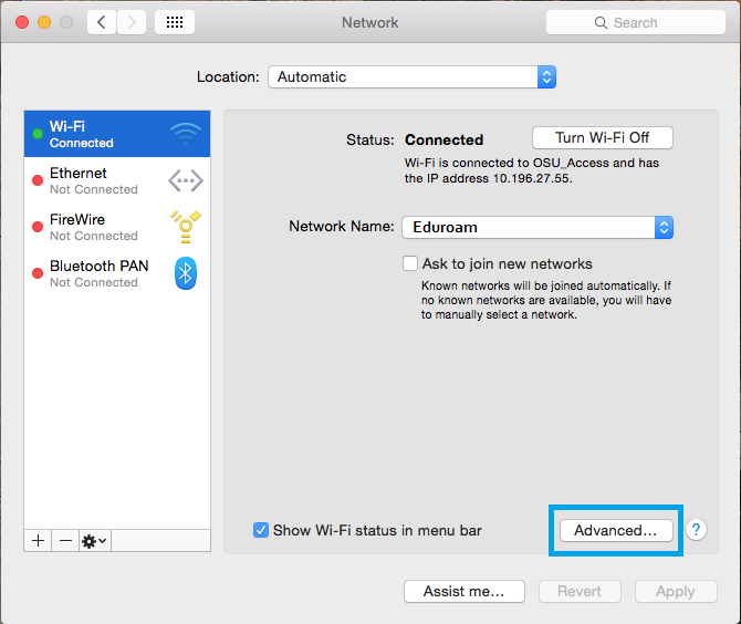 Network window with Wi-Fi menu selected.