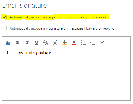'Automatically include my signature on new messages I compose' is checked.