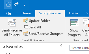 Outlook Send/Receive tab.