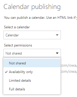 """""""Not shared"""" is selected under the """"Select permissions"""" drop-down menu"""