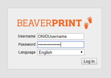 BeaverPrint login screen
