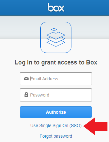 "Box login with arrow pointing to ""Use Single Sign On"""