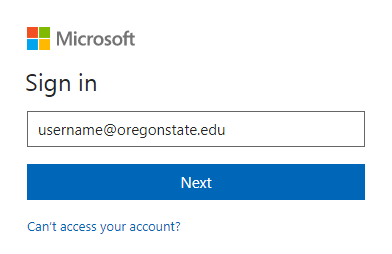 Shows username@oregonstate.edu in the sign in box.