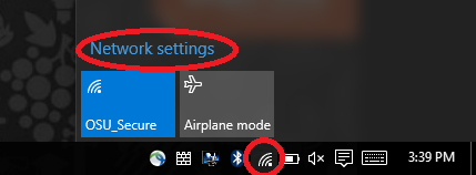 Wireless icon is highlighted, Network Settings is highlighted.