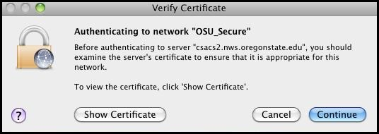 Certificate verification prompt.