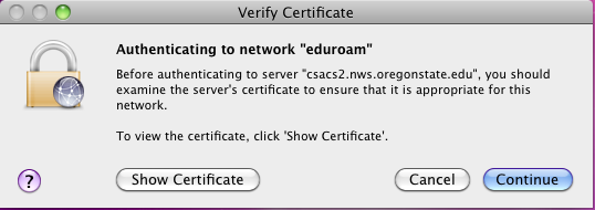 Pop-up warning about the certificate for eduroam.