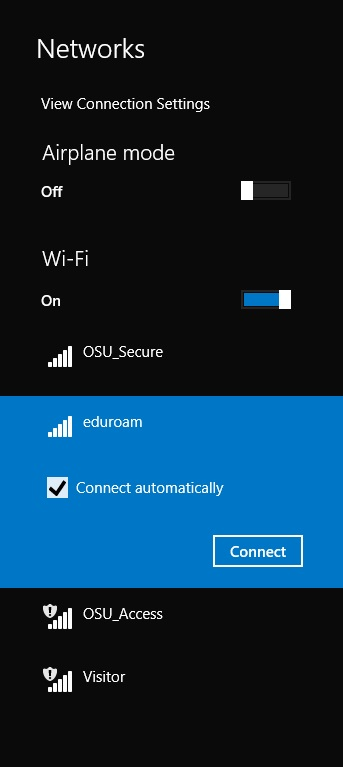 List of available wi-fi networks on Windows.