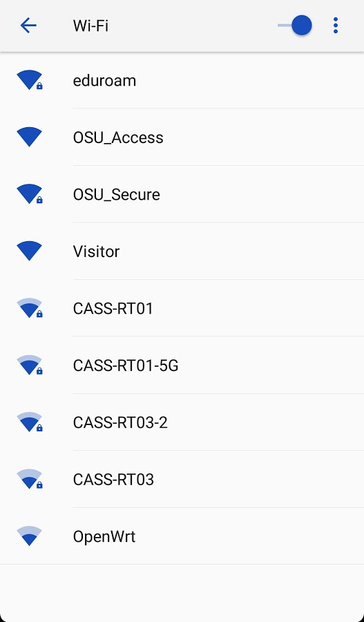Wi-Fi settings window showing networks available at OSU.