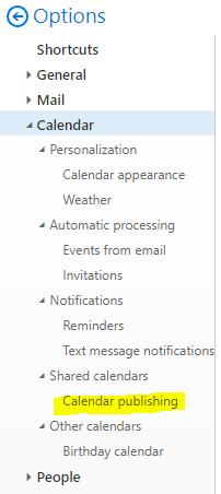 Click on Calendar > Shared calendars > Calendar publishing