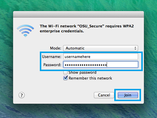 Wifi login screen with username and password highlighted.