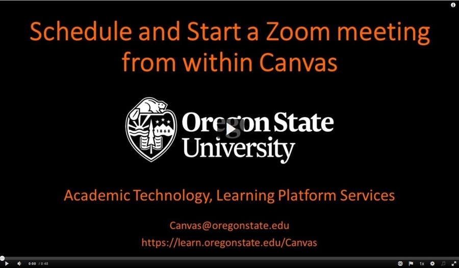 Schedule and Start a Zoom meeting from Canvas