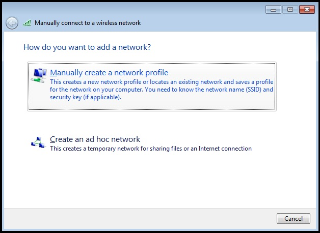 """""""Manually create a network profile"""" is highlighted."""