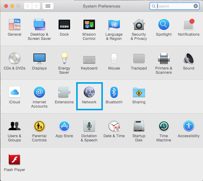 """Systems preferences window with """"Network"""" highlighted."""