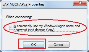 """Automatically use my Windows logon name"" is not checked."