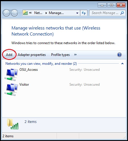 """Manage wireless networks window with """"Add"""" button highlighted."""