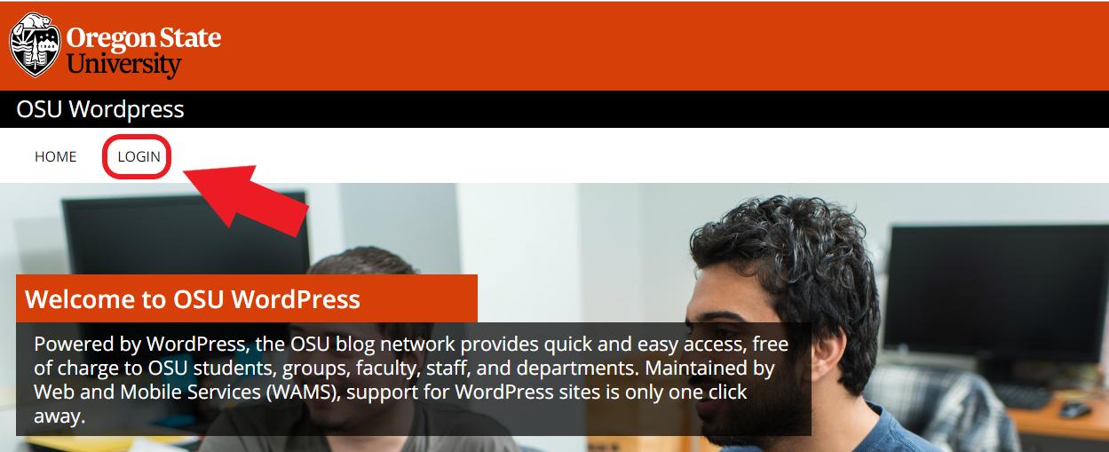 Shows arrow pointing to Login link on OSU Wordpress site.